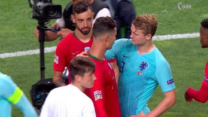 Cristiano Ronaldo (Juvnetus) y Matthijs de Ligt (Ajax), durante el Portugal 1-0 Holanda.