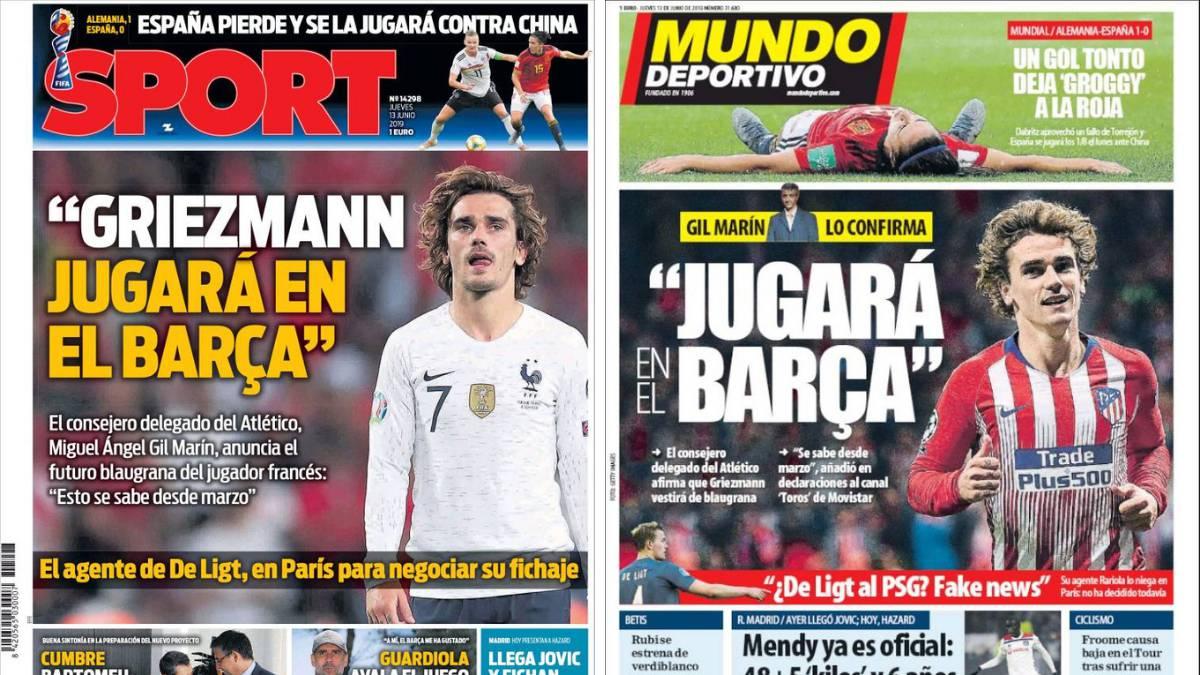 Portadas de los diarios Sport y Mundo Deportivo del día 13 de julio de 2019.