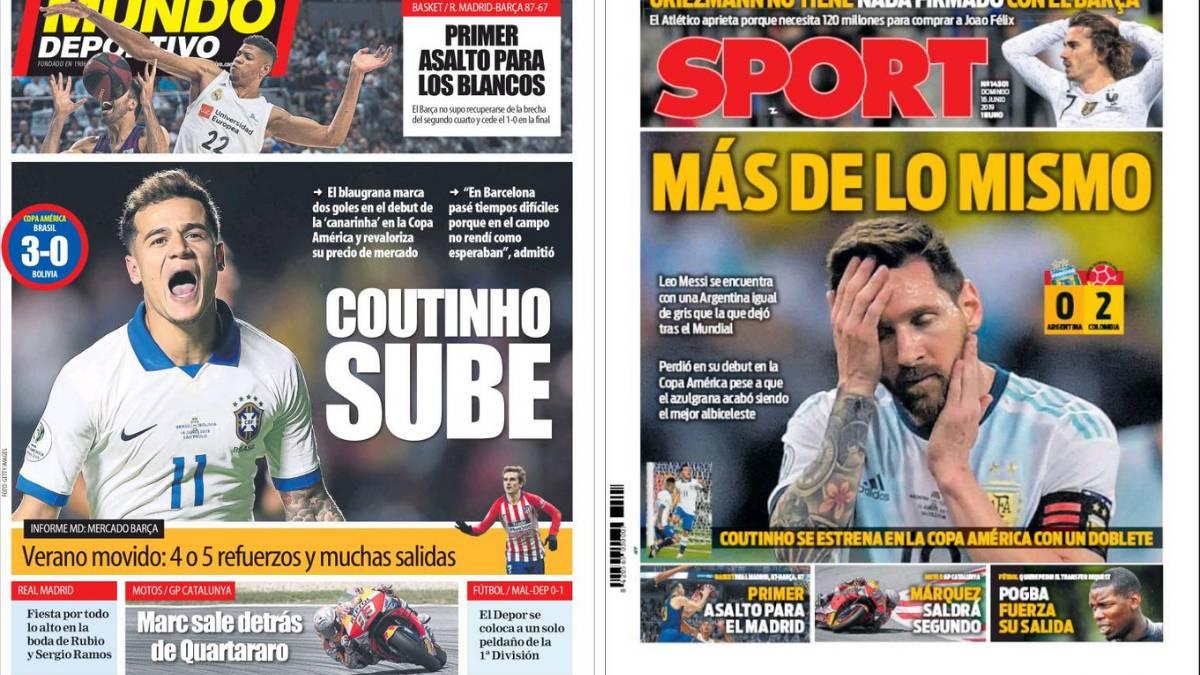 Coutinho subre con Brasil; Messi baja con Argentina