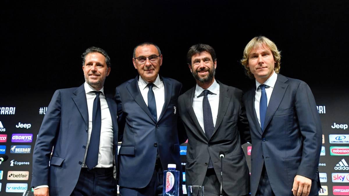 La nueva Juventus: Paratici, Sarri, Agnelli y Nedved.