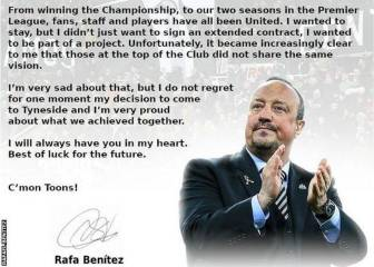 Rafa Benítez bids Newcastle farewell with thank you letter