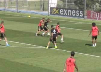 Hazard produces neat turn and finish in Real Madrid training