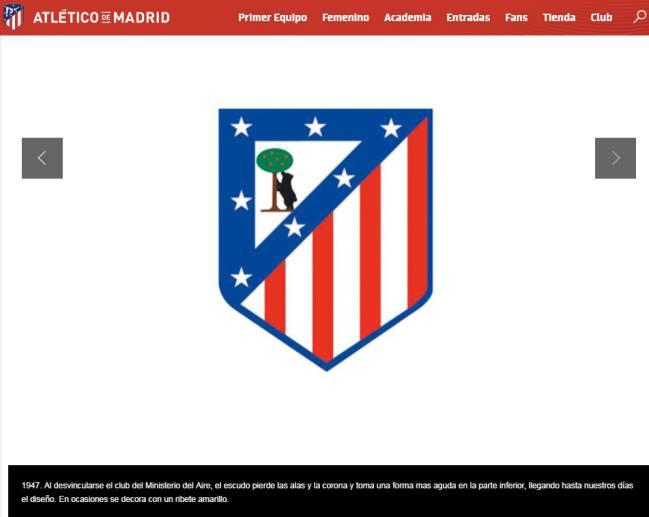 Explicación en la web del Atlético del escudo de 1947.