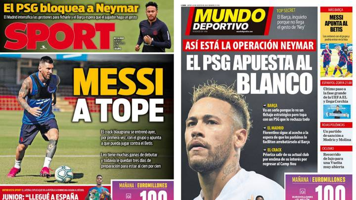 El pesimismo por Neymar llega a la prensa de Barcelona - AS.com