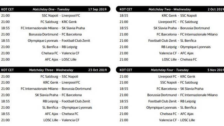 Champion Liga Calendario.Calendario Liga 2020 Barcelona
