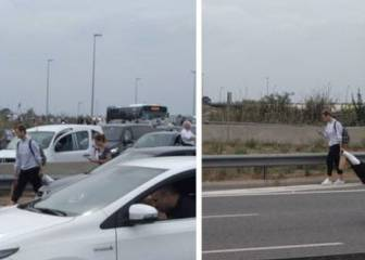 Rakitic seen walking home along bypass as airport traffic blocked