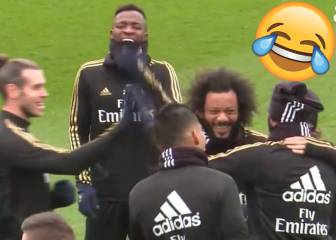 Benzema boots ball into own face during Real training