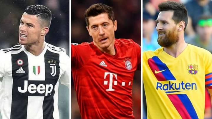 Cristiano Ronaldo (Juventus), Robert Lewandowski (Bayern Munich) y Leo Messi (Barcelona).