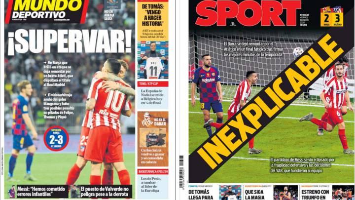 Incredulidad en la prensa deportiva de Barcelona