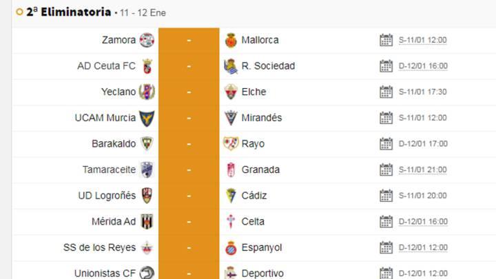 Humanista Aceptado justa  Partidos de hoy sábado en Copa del Rey: horario, TV y cómo ver - AS.com