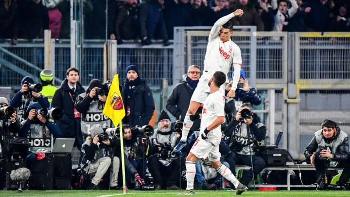 Cristiano celebra el gol que consiguió el pasado domingo ante la Roma y que fue decisivo para la victoria 'bianconera' en el estadio Olímpico.