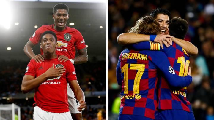Martial, Rashford, Griezmann, Suárez y Messi.
