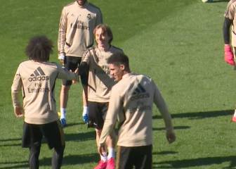 Marcelo's Modric nutmeg leaves Courtois open-mouthed