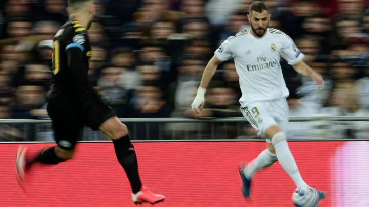 Karim Benzema, en el partido que el Madrid perdió ante el Manchester City (1-2) de Champions.