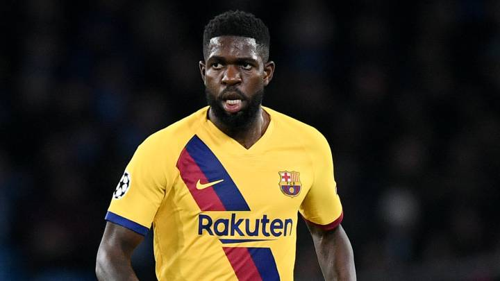 Samuel Umtiti of Barcelona during the UEFA Champions League, Round of 16, 1st leg football match between SSC Napoli and FC Barcelona on February 25, 2020 at Stadio San Paolo in Naples, Italy - Photo Giuseppe Maffia / Sportphoto24 / DPPI