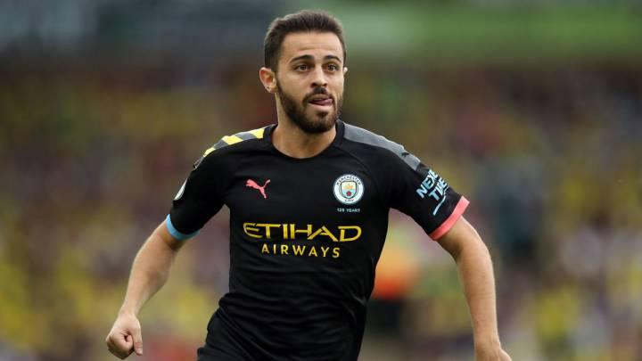 El jugador portugués del Manchester City, Bernardo Silva, durante un partido.