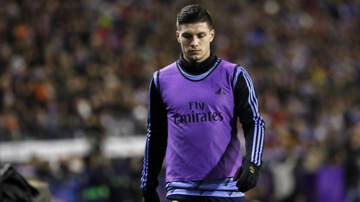 Jovic, en un partido con el Real Madrid.