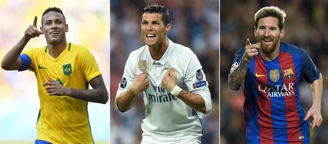 Neymar, Cristiano y Messi.