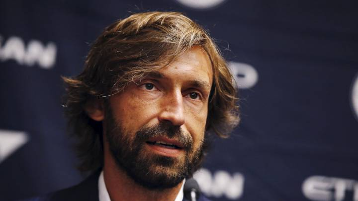 Italian international soccer player Andrea Pirlo is introduced as New York City FC's third Designed Player, at an event in New York, July 23, 2015. The 36-year-old former Juventus and Milan player will join the Major League Soccer (MLS) team for the rest of 2015 season. REUTERS/Mike Segar