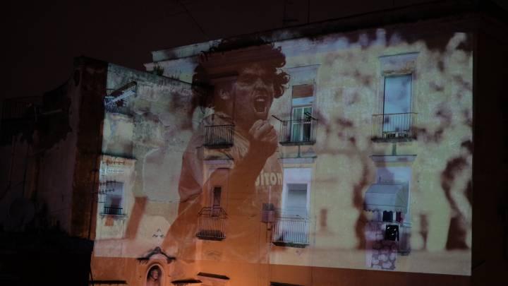 Imágenes de Maradona en Nápoles.