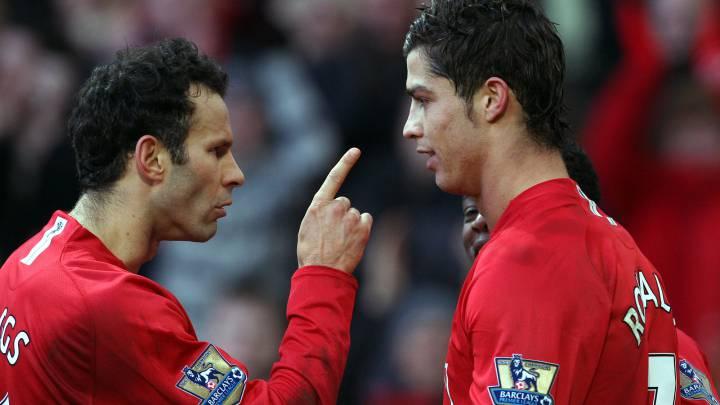 Giggs y Cristiano Ronaldo durante un Everton-Manchester United.