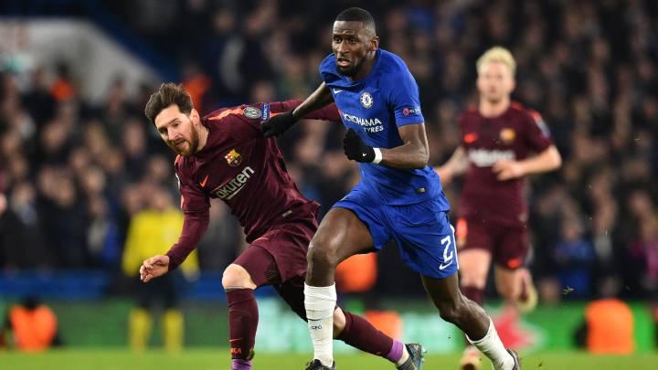 Messi y Rudiger, en un partido de la Champions.