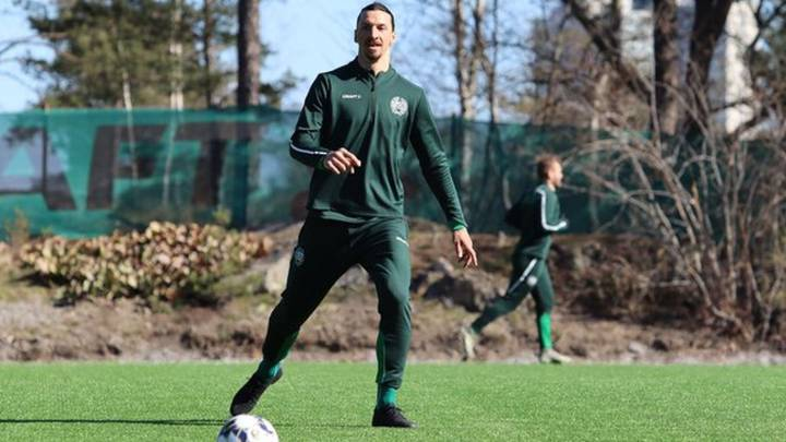 Zlatan trains with Hammarby as he considers future plans