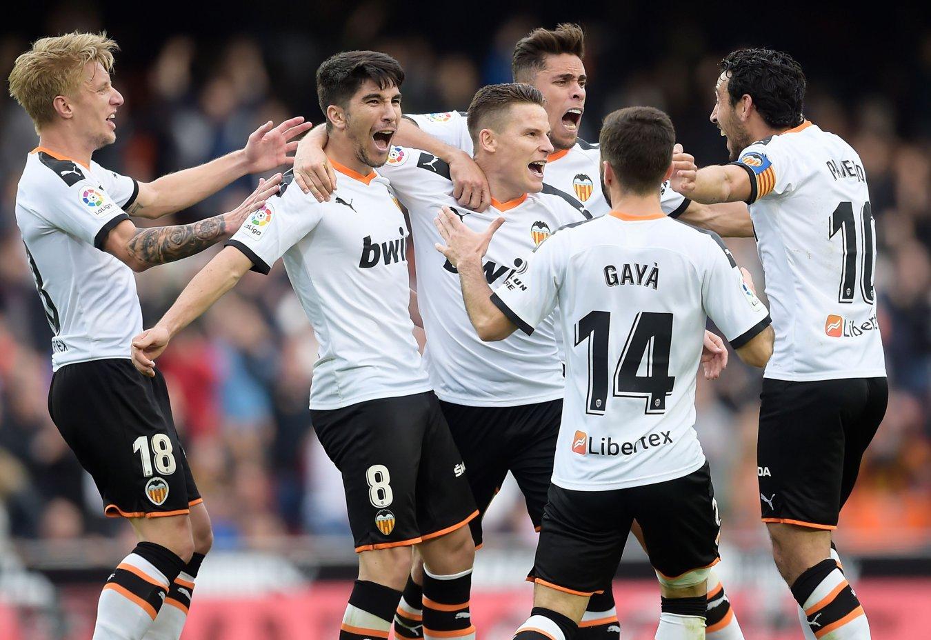 Alegría de los jugadores del Valencia