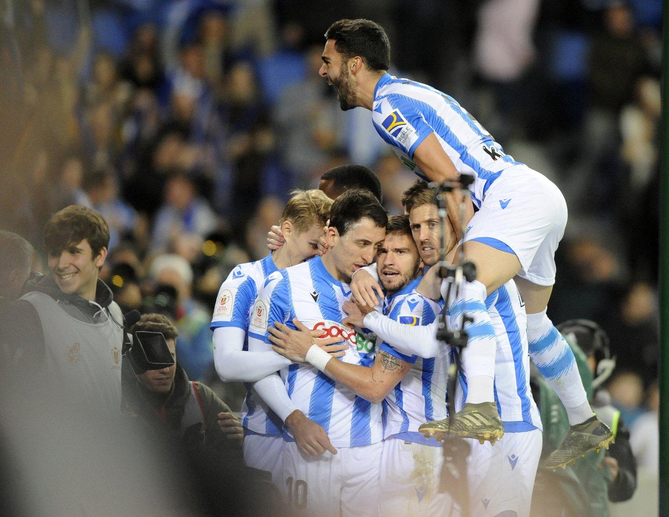 Alegría de los jugadores de la Real Sociedad