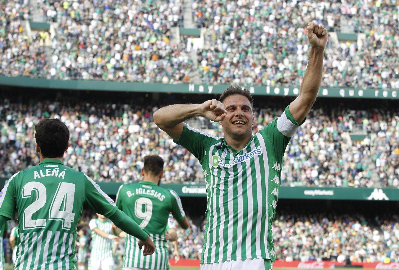 Alegría de Joaquín con el Betis