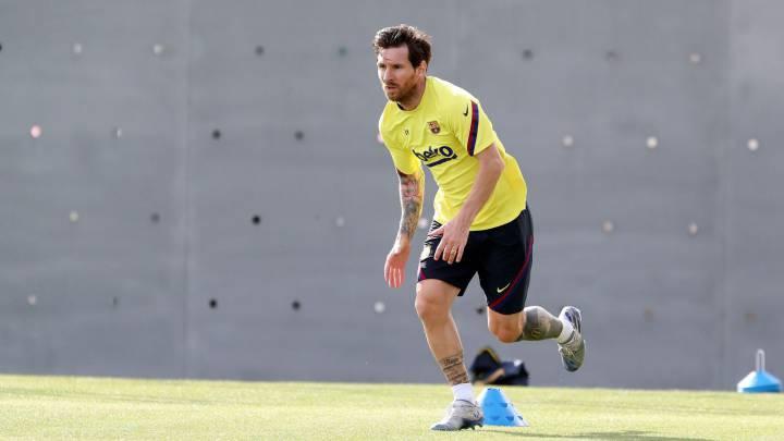 Messi, durante un entrenamiento con el Barcelona.