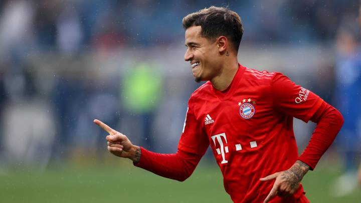 FILE PHOTO: Soccer Football - Bundesliga - TSG 1899 Hoffenheim v Bayern Munich - PreZero Arena, Sinsheim, Germany - February 29, 2020  Bayern Munich's Philippe Coutinho celebrates scoring their fifth goal  REUTERS/Kai Pfaffenbach  DFL regulations prohibit any use of photographs as image sequences and/or quasi-video/File Photo