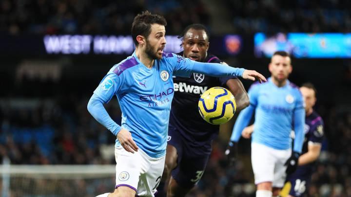 Partido de la Premier entre el Manchester City y el West Ham.