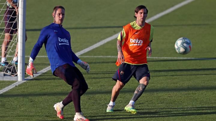 Leo Messi, en el entrenamiento de ayer con Ter Stegen.
