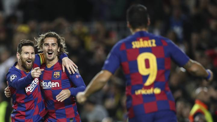El tridente Messi-Suárez-Griezmann, titular 165 días después.