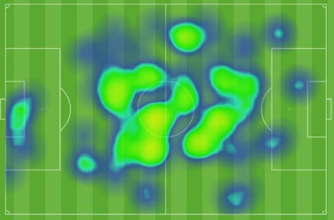 Mapa de calor de Casemiro en el Espanyol-Real Madrid.
