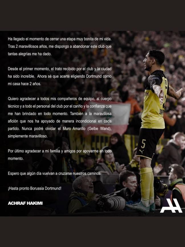 Achraf se despidió del Borussia y de sus aficionados con una carta.