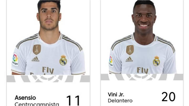 Los dorsales del Real Madrid, en LaLiga: Asensio, el 11, Vinicius el 20 y Bale, el 25