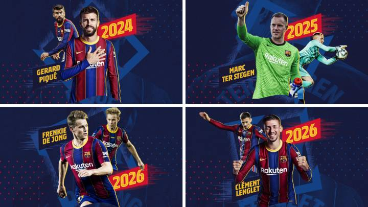 Barcelona renew deals with Piqué, Ter Stegen, Lenglet and De Jong