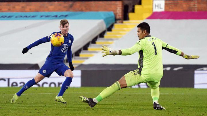 Timo Werner falló esta clara ante Areola en el partido entre el Fulham y el Chelsea.