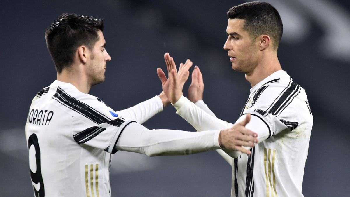 Morata y Cristiano marcan y la Juve se agarra a la parte alta