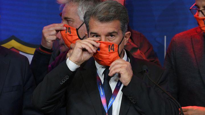 Joan Laporta, tras ganar las elecciones al Barcelona el pasado día 7 de marzo.