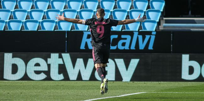 Benzema, en el Celta-Real Madrid.