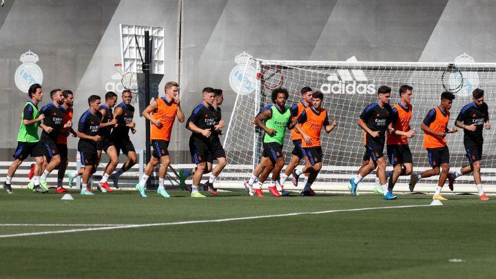 Los jugadores del Real Madrid en el primer entrenamiento de la pretemporada 2021-2022.