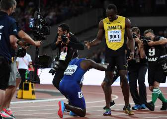 Jeered Gatlin gatecrashes Bolt's 100m farewell party in London