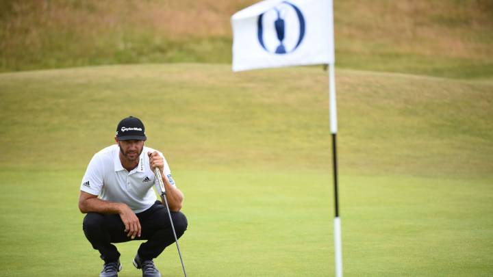 Dustin Johnson, durante un entrenamiento para el The 147th Open Championship en Carnoustie, Scotland.