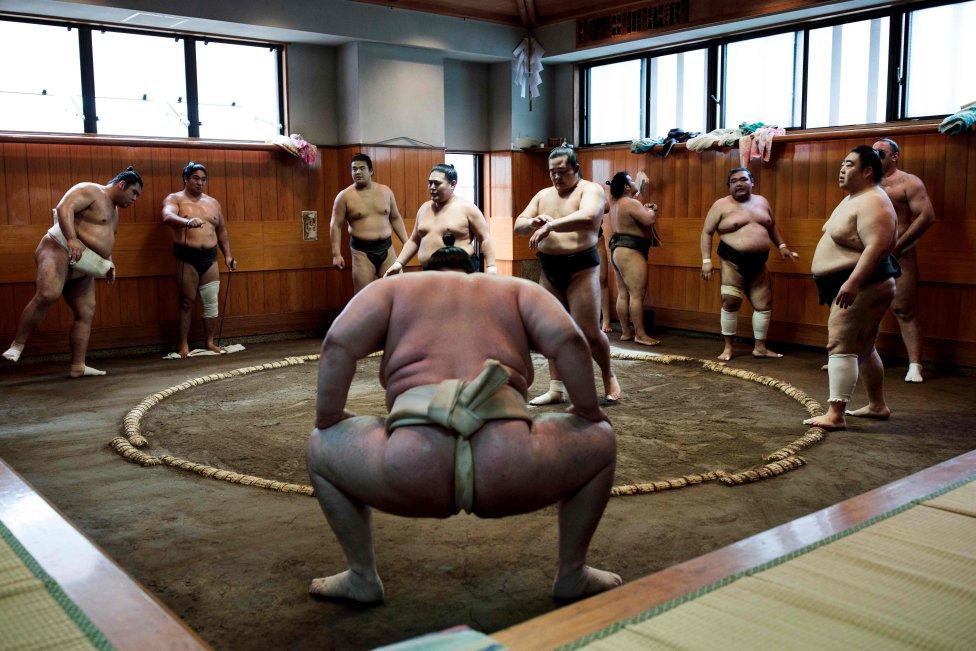 Los luchadores de sumo se calientan durante una sesión de entrenamiento en un establo en Tokio. - El deporte de sumo por excelencia japonés detiene a todo el país durante los seis grandes torneos por año.