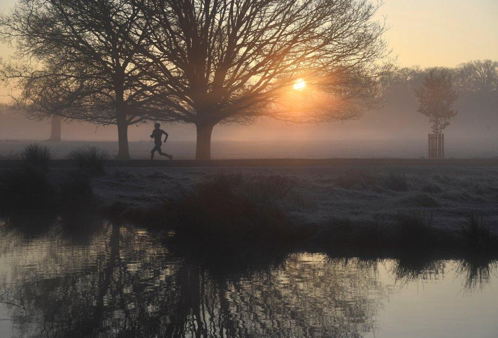 Bonita instantánea de un hombre corriendo al amanecer en el Richmond Park de Londres, Gran Bretaña.