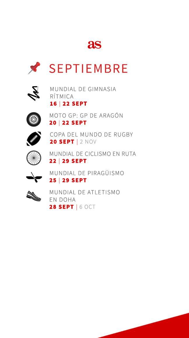 Calendario Mundial Rugby 2019.Calendario Deportivo 2019 Los Grandes Eventos Del Mundo Del
