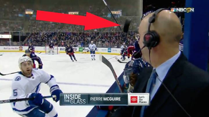 Miracle escape as hockey puck misses presenter\'s head